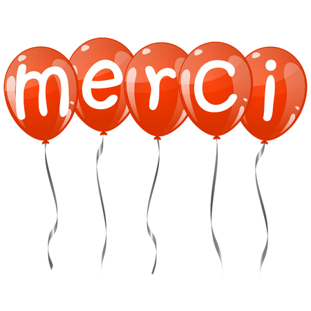 thankyou: five flying balloons red colored with text MERCI