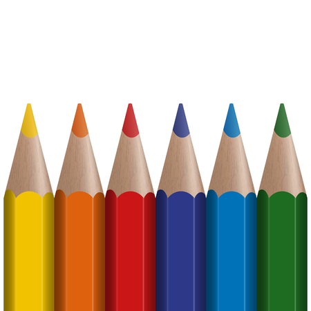 color range: six colored pens in a row with white background Illustration