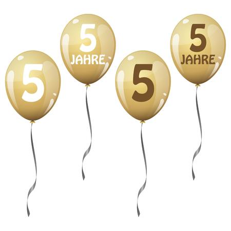 jubilee: four golden jubilee balloons for 5 years