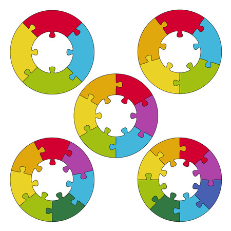 round puzzles with center and options for business design