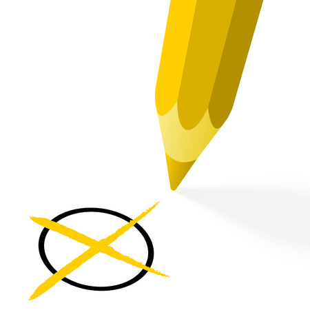 off the hook: illustration of pencil colored yellow drawing a cross