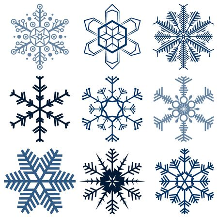 collection: collection of different detailed snow flakes for christmas time Illustration