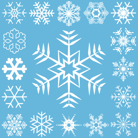 collection of different detailed snow flakes for christmas time Vettoriali