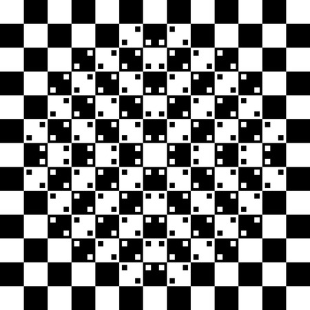 dimensionally: illustration of black and white phenomenal optical illusion background Illustration