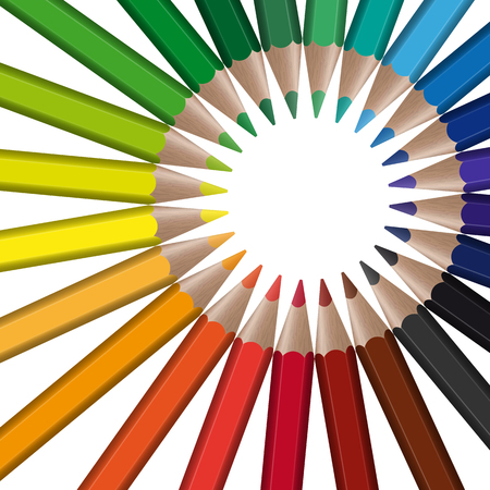 geometrically: circle of different colored pencils with empty center point
