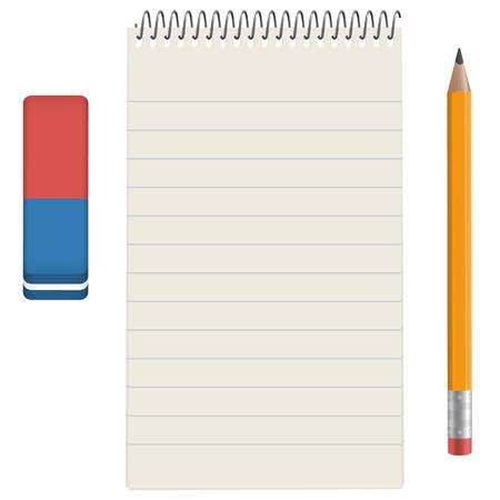 gris pavé de papier avec un crayon et une gomme
