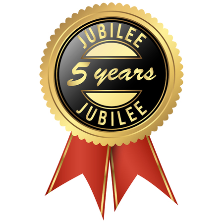 five years': seal colored black and gold with red ribbons for five years jubilee