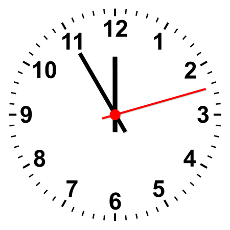 Simple isolated clock showing time five minutes before twelve Vectores