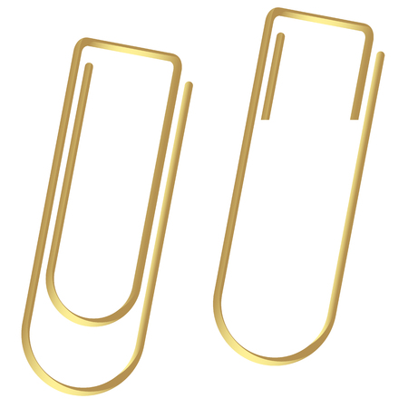 metal drawing: Paper clips clamped colored gold