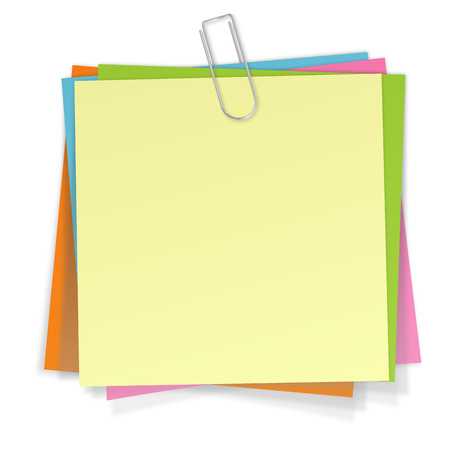 Sticky Notes in different colors with silver paper clip