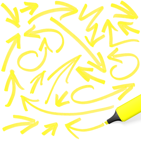 yellow colored highlighter with different hand drawn markings Illustration