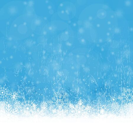 snow background: snow flakes on bottom side, abstract fall of snow and blue colored background Illustration