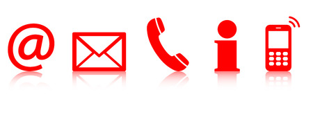 contacts: Contact Us – set of red colored icons with reflection