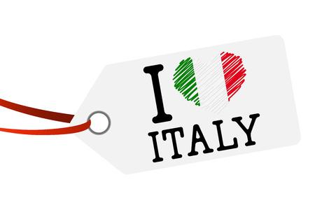 hang tag: white hang tag with red ribbon and text I LOVE ITALY