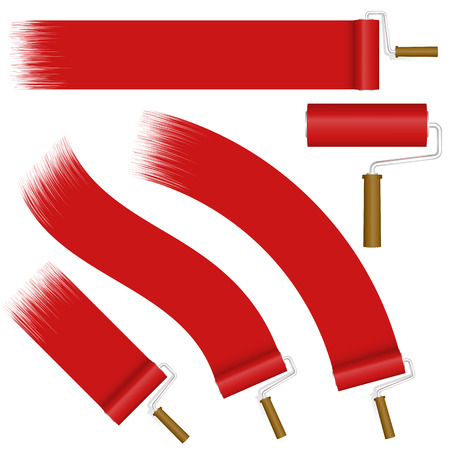 collection red: collection of paint rollers with different markings colored red