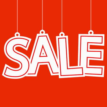 cheaper: hangtag with white letters sale on red background