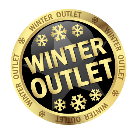 outlet: colored button with banner and text - Winter Outlet