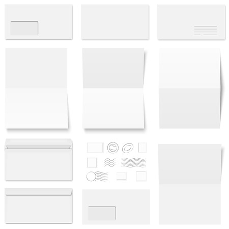 Collection of white envelopes, note papers and postage stamps