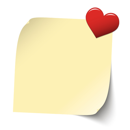february 14th: little yellow sticky paper with red heart pin