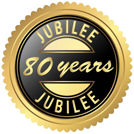 eighty: round seal colored black and gold for eighty years jubilee