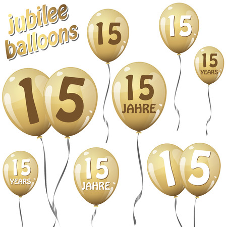 15: Golden Jubilee balloons for 15 years in English and German Illustration
