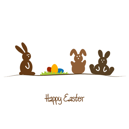 easter background: Happy Easter background with brown rabbits and colored eggs Illustration