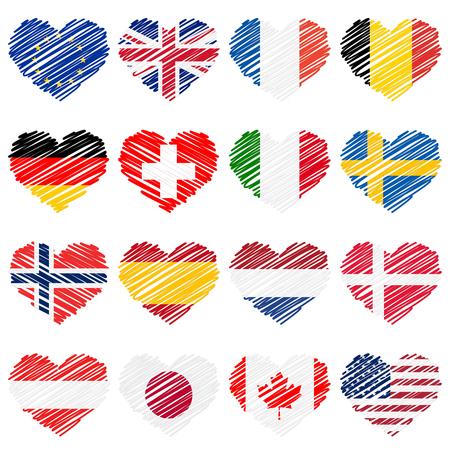 denmark flag: scribble hearts nationally countries