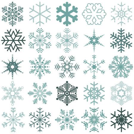 sapin neige: collection de différents flocons de neige détaillés pour la période de Noël