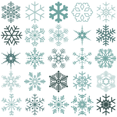 snow  ice: collection of different detailed snow flakes for christmas time Illustration