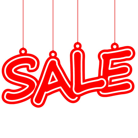 hangtag: hangtag with red letters sale on white background Illustration
