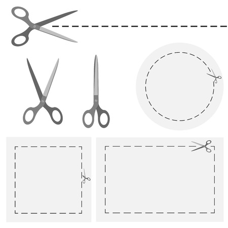 shears: set of scissors with dashed lines for advertising usage