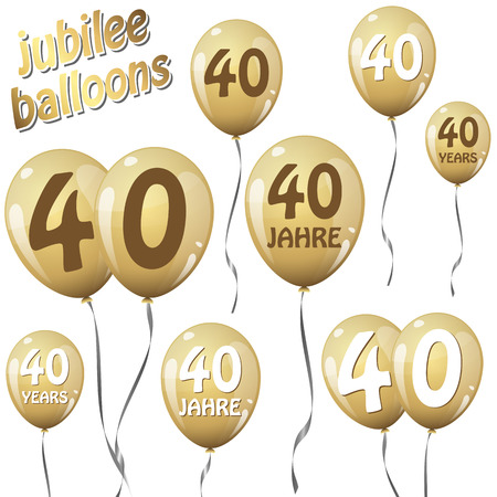 40: golden jubilee balloons for 40 years in english and german Illustration