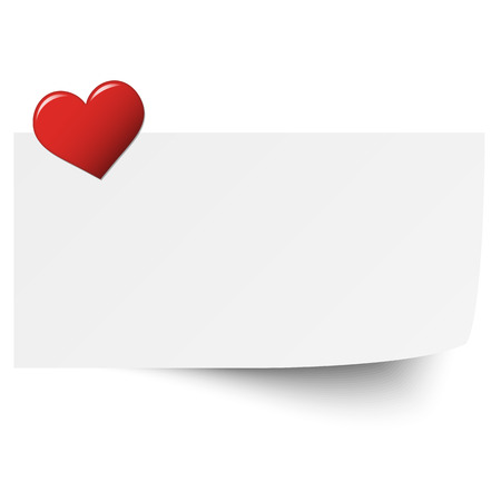 sticky paper: little white sticky paper with red heart pin Illustration