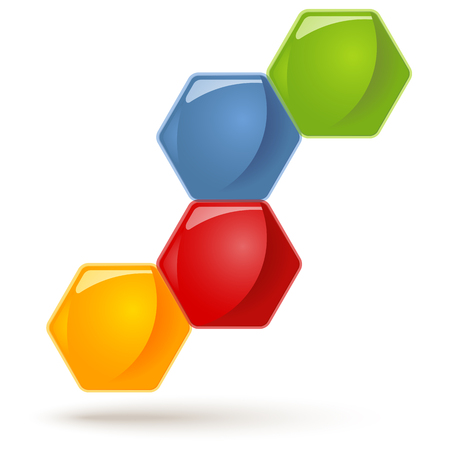 symbolism: honey comb with four options for team work symbolism