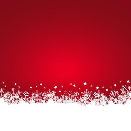 fondo rojo: copos de nieve blanca en el lado inferior y el fondo de color Vectores