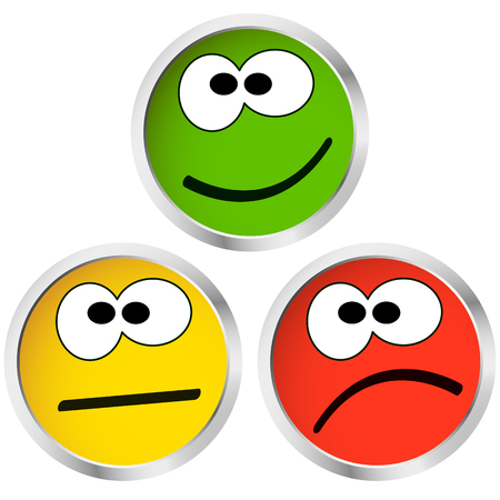 bad eyes: three buttons with happy, neutral and sad emotion faces