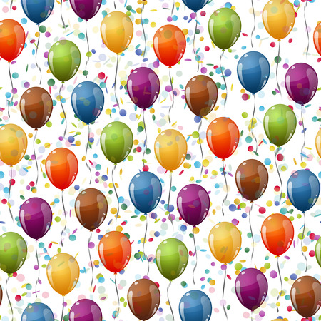 childrens birthday party: seamless background with multi colored flying balloons and confetti