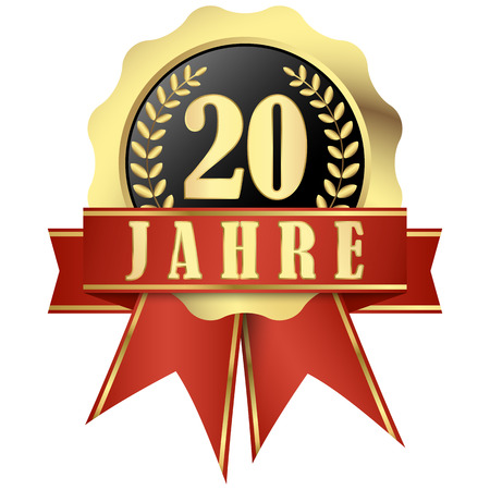 approval button: Jubilee button with banner and ribbons for 20 years (in german) Illustration