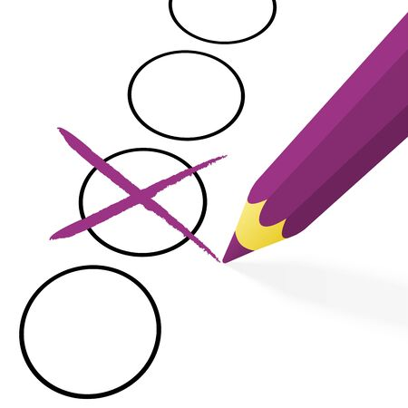 off the hook: illustration of pencil colored purple drawing a cross