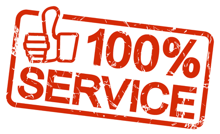 customercare: grunge stamp with frame colored red and text 100% Service