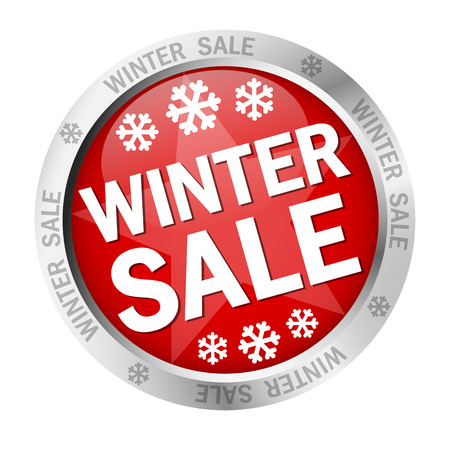 winter sale: colored button with banner and text - Winter Sale Illustration