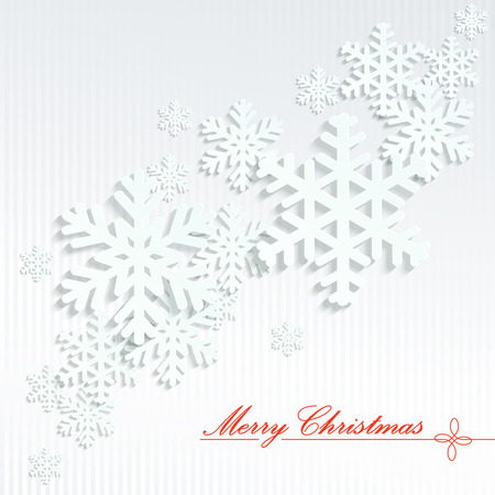 festively: white snow flakes with shadow on light background with text Merry christmas