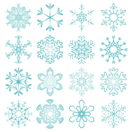 collection of 16 different blue snow flakes isolated on white background  イラスト・ベクター素材