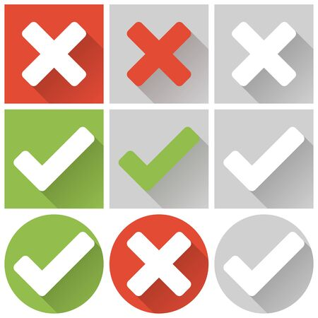rejection: collection of red and green cross and check marks Illustration