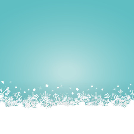 white snow flakes on bottom side and colored background