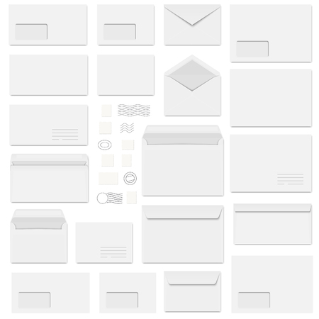 envelopes: big collection of white envelopes and different postage stamps