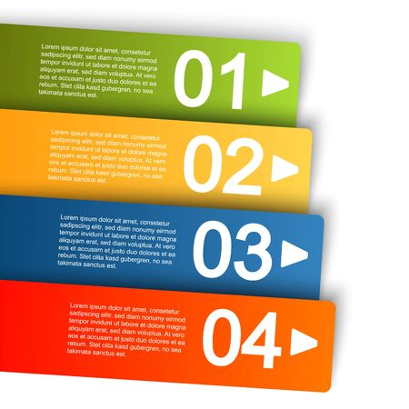 four: info graphic template with four colored stripes for different options Illustration