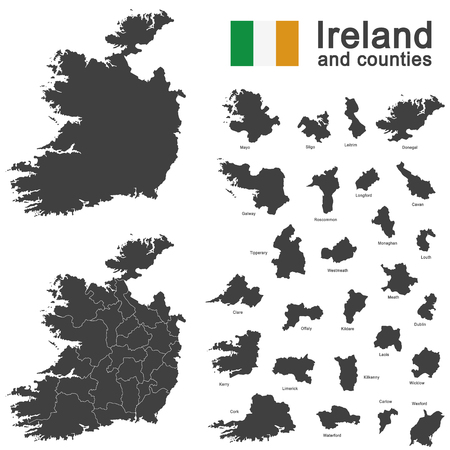 irish sea: european country Ireland and counties in details