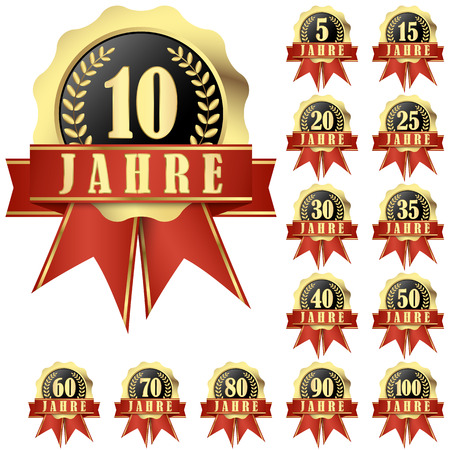 collection of jubilee buttons with banner and ribbons for 10 years (in german) and others