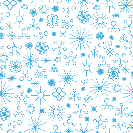 stelle blu: very abstract seamless snow fall background colored with blue stars Vettoriali